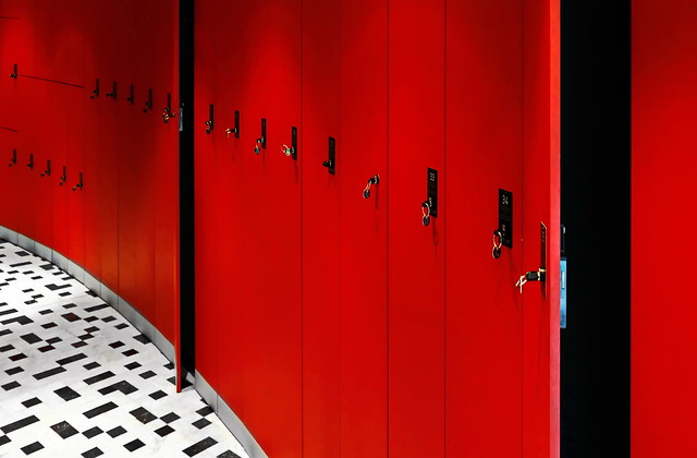 . .  . . lockers in red . . . .