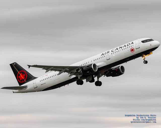 Rising Airbus A321-200 in White, Black and Air Canada Reds