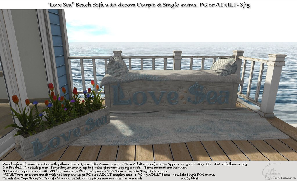 ".:Tm:.Creation ""Love Sea"" Beach Sofa with decors Sf15"