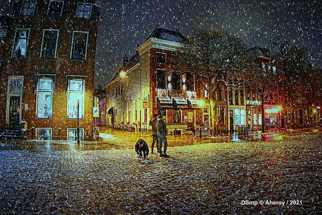 Winter op de Vismarkt, Groningen Stad,the Netherlands