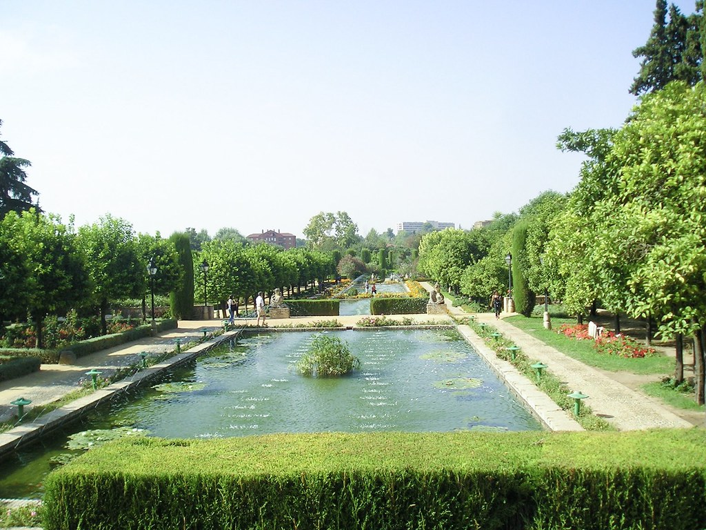 View of the gardens of the Alcazar, with the water fountains in the centre