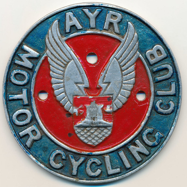 Ayr Motor Cycling Club metal bike badge - paintedr