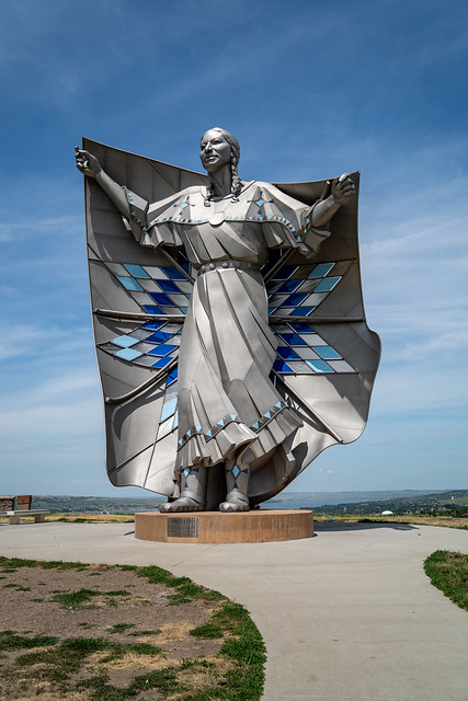 Chamberlain, South Dakota - July 24, 2020:  Dignity Statue in a Chamberlain rest area, a tribute to the Native American heritage