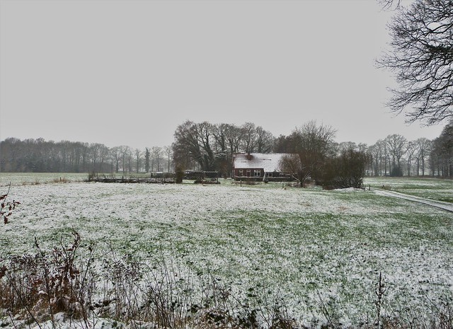 Our house in an almost snow landscape