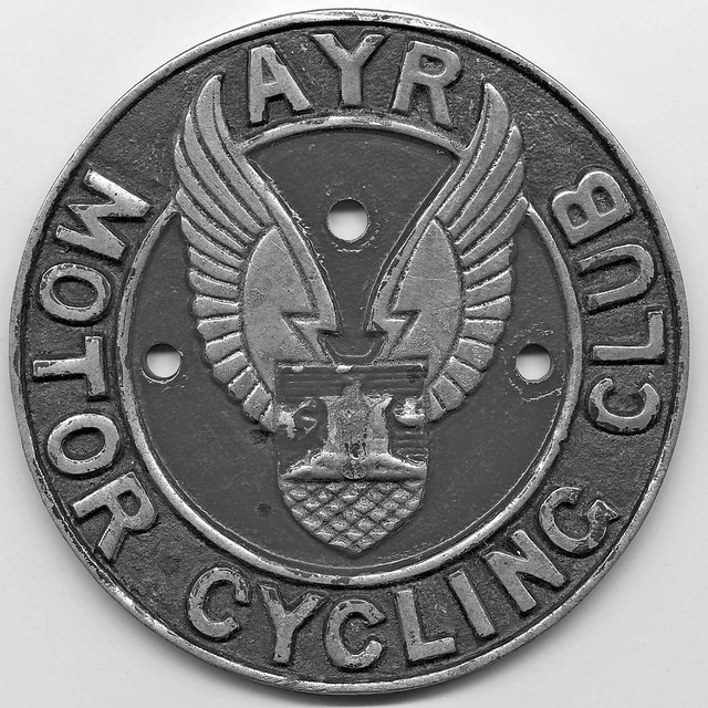 Ayr Motor Cycling Club metal bike badge