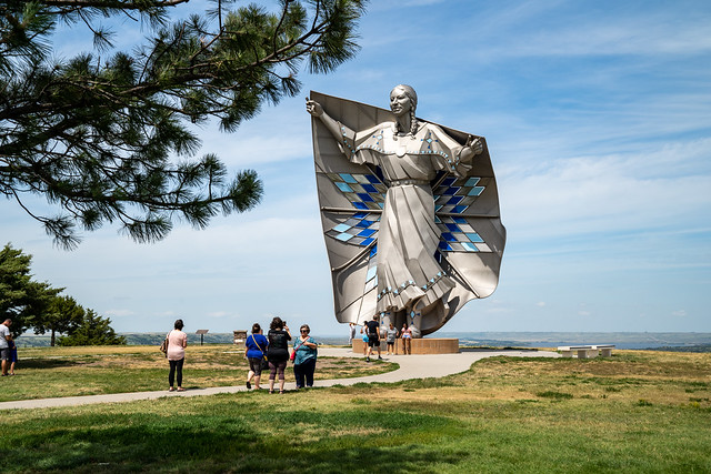 Chamberlain, South Dakota - July 24, 2020: People gather around the Dignity Statue in a Chamberlain rest area, a tribute to the Native American heritage