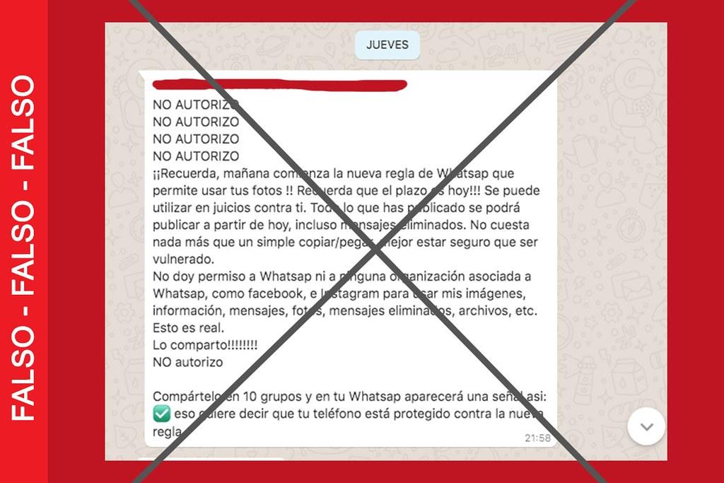Es falso que con las nuevas reglas de WhatsApp estarás permitiendo que usen tus fotos y publiquen todo lo que hayas enviado