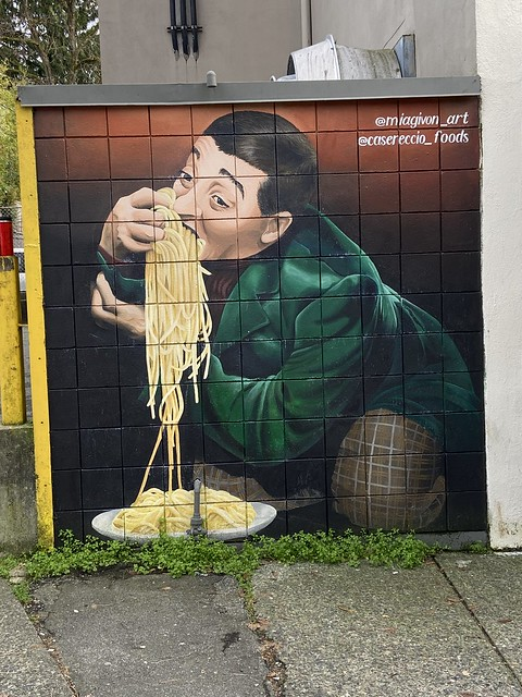 Didn't realize this was the proper way to eat pasta?  Spotted this on a Kitsilano walk-about. (looks like Pee-wee Herman)