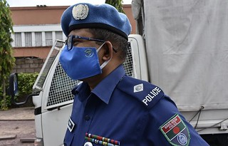 As part of the fight against COVID-19, the Police of MONUSCO created face mask to reinforce prevention measures against this pandemic. | by United Nations Peacekeeping