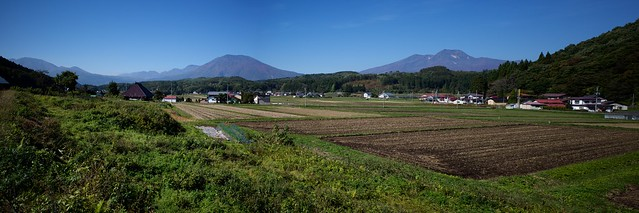 Landscape of Shinano-machi with four volcanoes