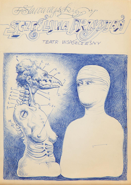 """Franciszek Starowieyski - Projekt plakatu do spektaklu """"Szczęśliwa przystań"""", 1971 r."""