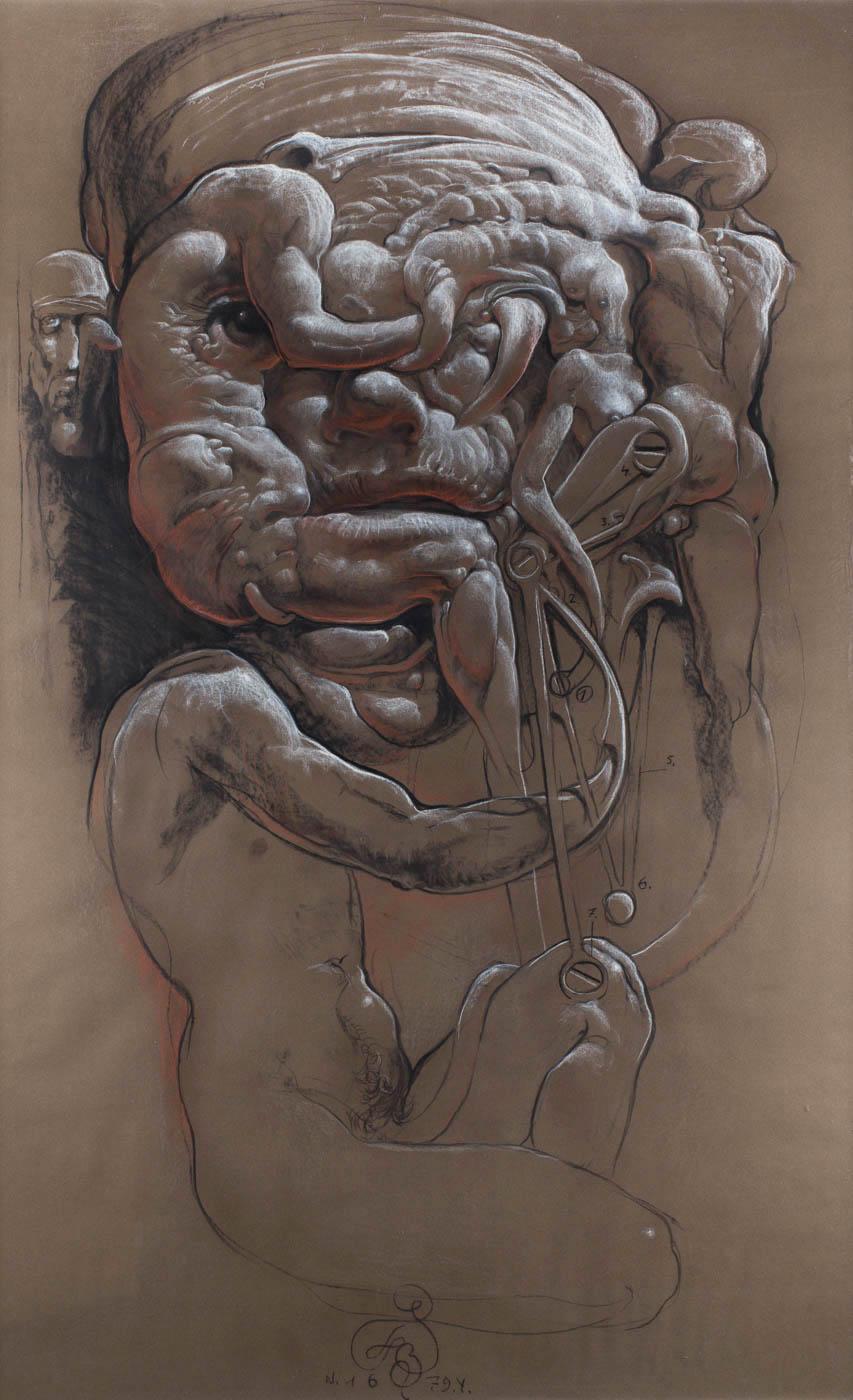 Franciszek Starowieyski - Głowa pewnego angielskiego aktora (pastel), 1979