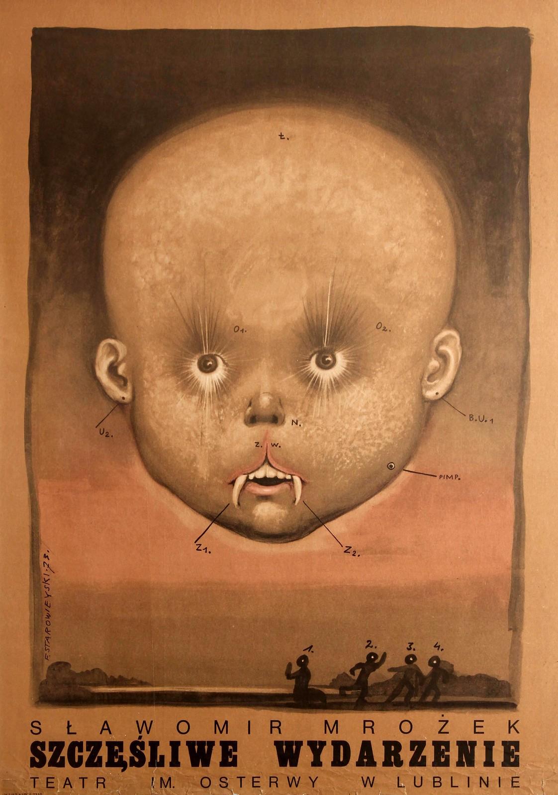Franciszek Starowieyski - Poster for the theatre play Happy Event (Szczesliwe Wydarzenie) By Slawomir Mrozek, 1973