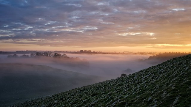 Frosty Sunset over Witcombe Valley.