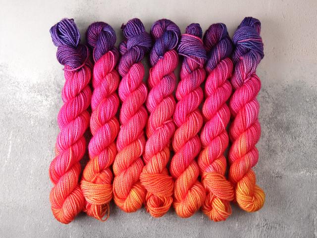Favourite Sock Minis – pure Merino wool superwash 4 ply / fingering hand dyed yarn 20g miniskeins – 'Reaction'