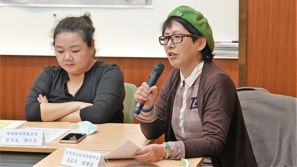 台灣再生能源推動聯盟理事長高茹萍呼籲,政府應該擔負起海洋資源調查與空間規劃的責任。孫文臨攝