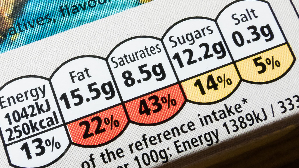 A close up photo of a nutrition label on a packet of food. The number of grams and percentage of daily allowance are visible for Fat, Saturates, Sugars and Salt