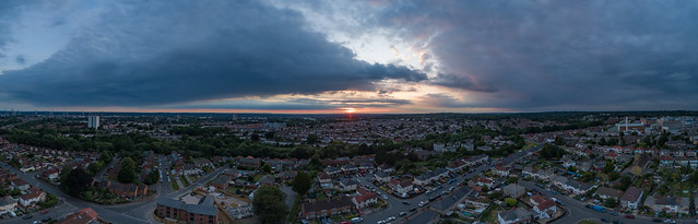 Suburban sunset pano.