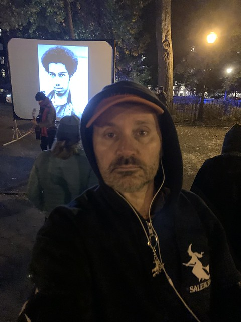 Ryan Janek Wolowski attending Shows in Tompkins Square Park East Village NYC Halloween October 31st 2020