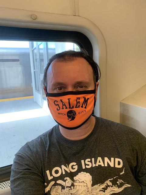 Ryan Janek Wolowski riding the Long Island Rail Road LIRR to Penn Station NYC on Halloween October 31st 2020