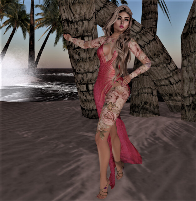 @Sandrose@ Dress Liv shine/ watermelon