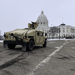 A National Guard armored vehicle at the Minnesota State Capitol in St Paul, Minnesota. Security is present at US state capitals across the country for possible violence in advance of President-elect Joe Biden's inauguration on Wednesday.