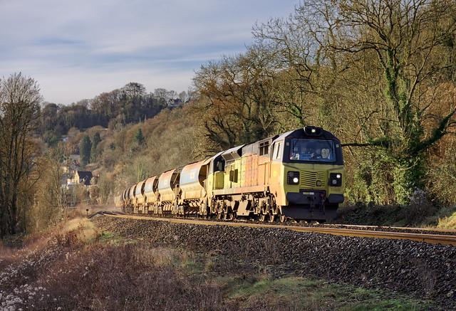 Winter Colas freight - Westbury Down T.C. to Penarth Curve South Jn 17/01/21