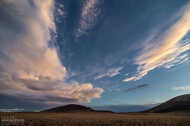 6 November 2020 — East of Flagstaff, Arizona – Sunset sky and cinder cones