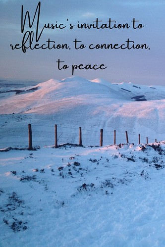 Sunset on a snowy landscape in the Pentland Hills. From Music's invitation to reflection, to connection, to peace