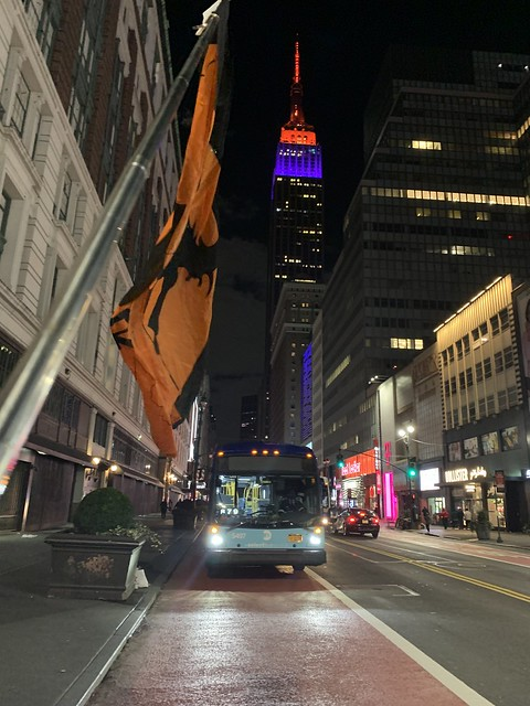 Halloween Witch Flag on 34th Street NYC USA October 31st 2020