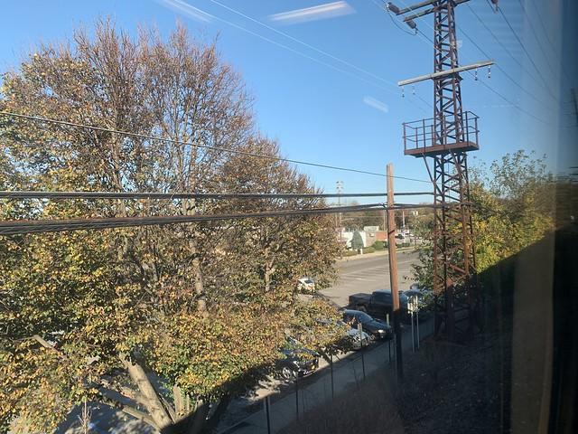 Long Island Rail Road LIRR to Penn Station NYC autumn foliage on Long Island NY Halloween October 31st 2020