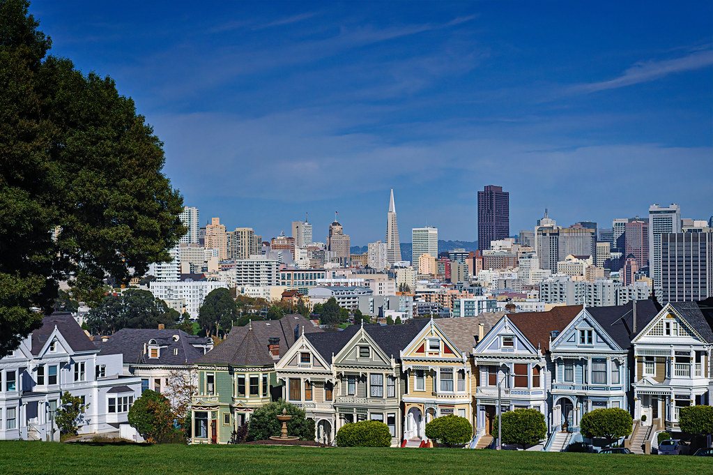 View of the Painted Ladies from Alamo Square Park, San Francisco, California