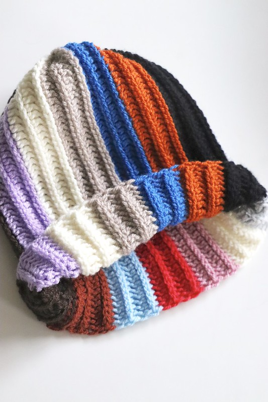 handmade striped beanie