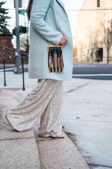 wide leg sequin pants, mint green sweater, wool top coat, whiting and davis skyline bag-6.jpg