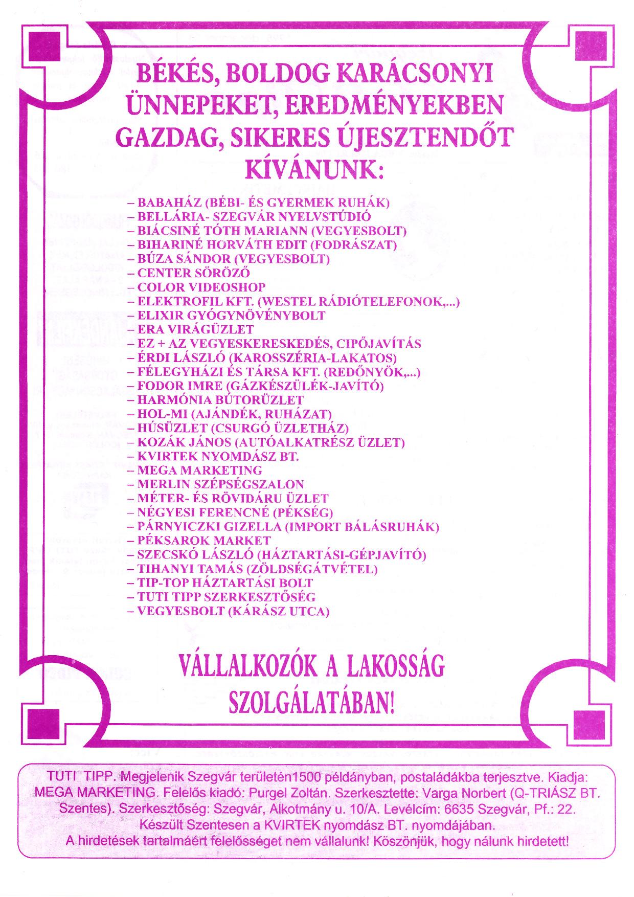 026 Szegvári Tuti Tipp reklámújság - 19951223-012. lapszám -2.oldal - I. évfolyam.jpg
