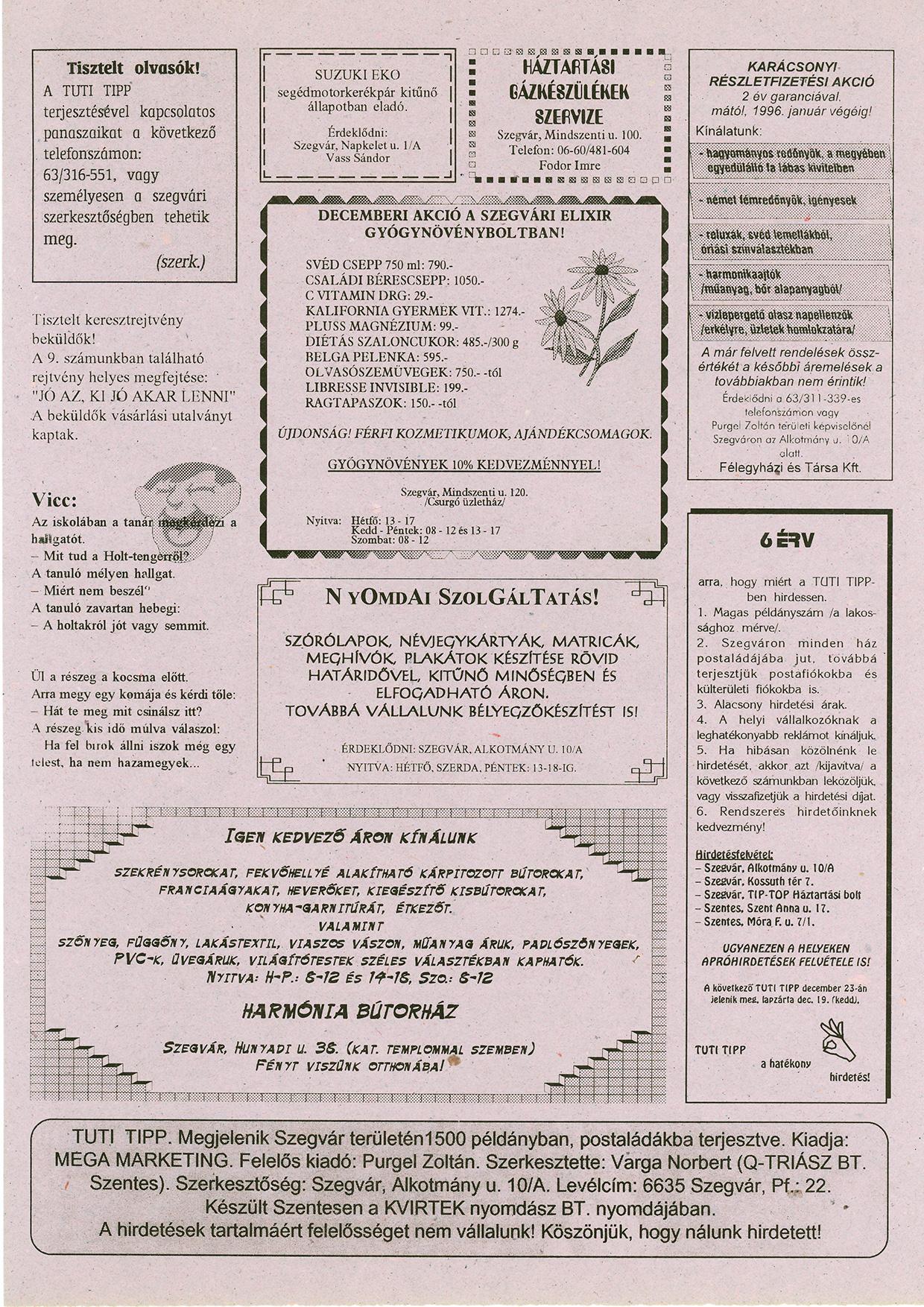 024 Szegvári Tuti Tipp reklámújság - 19951216-011. lapszám -2.oldal - I. évfolyam.jpg