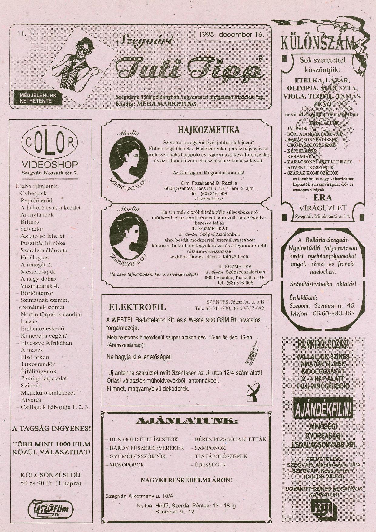 023 Szegvári Tuti Tipp reklámújság - 19951216-011. lapszám -1.oldal - I. évfolyam.jpg