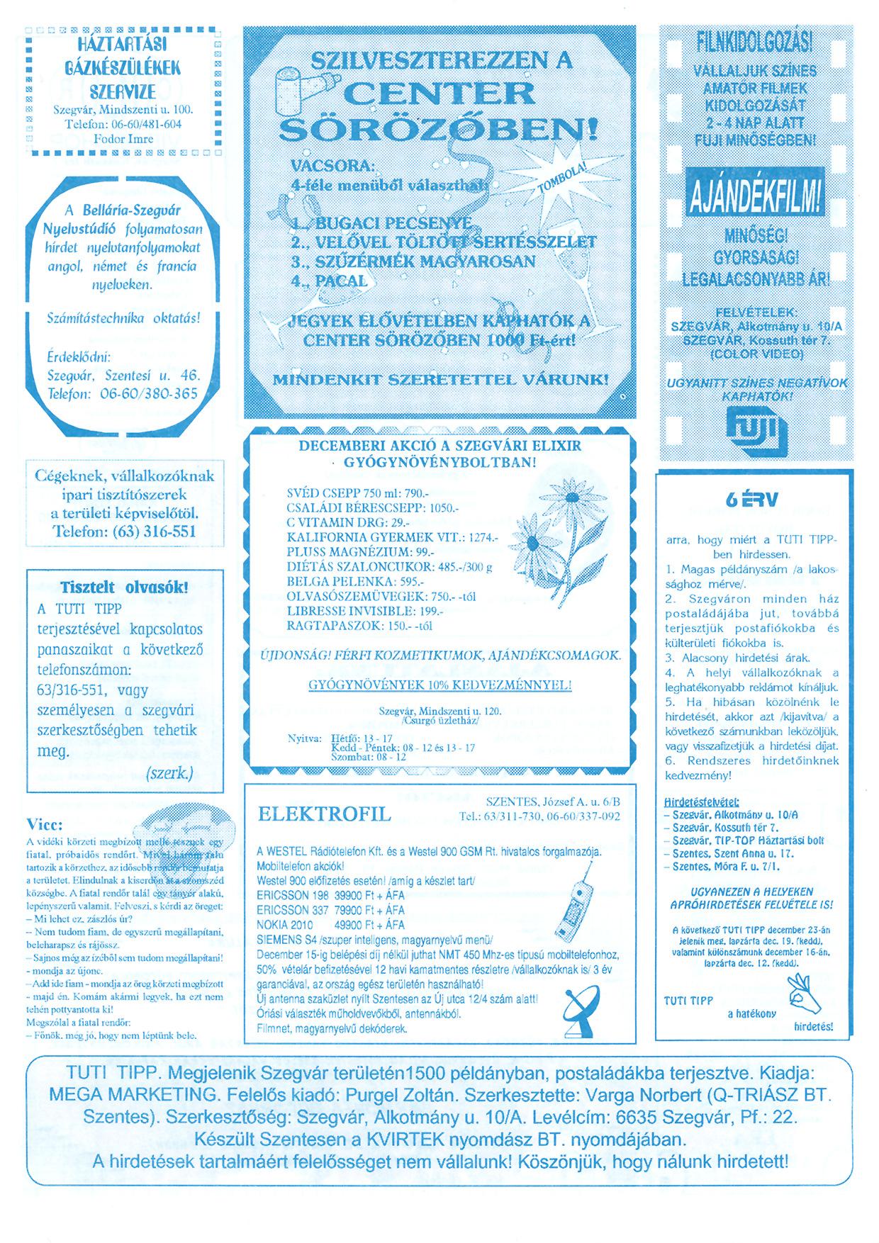 022 Szegvári Tuti Tipp reklámújság - 19951209-010. lapszám -2.oldal - I. évfolyam.jpg