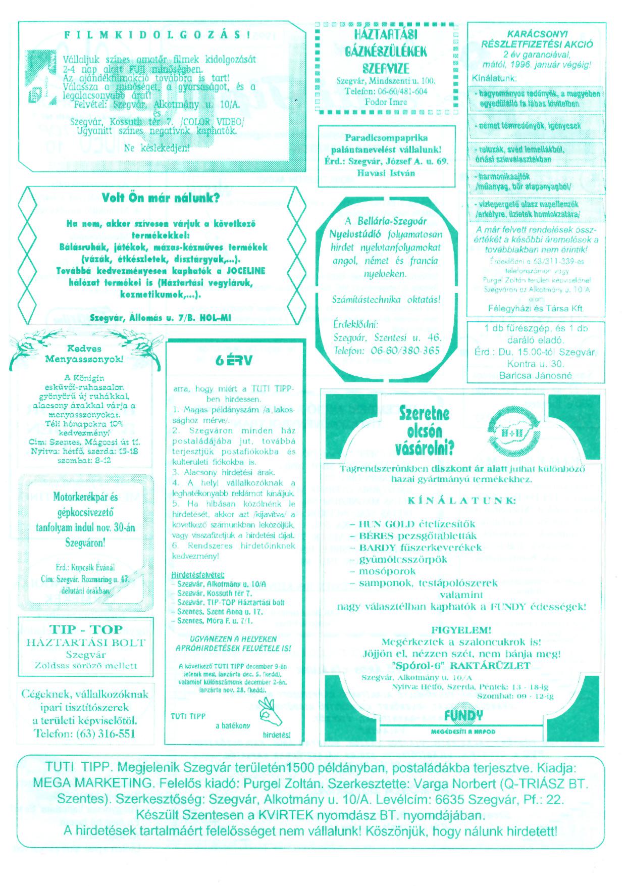 018 Szegvári Tuti Tipp reklámújság - 19951125-008. lapszám -2.oldal - I. évfolyam.jpg