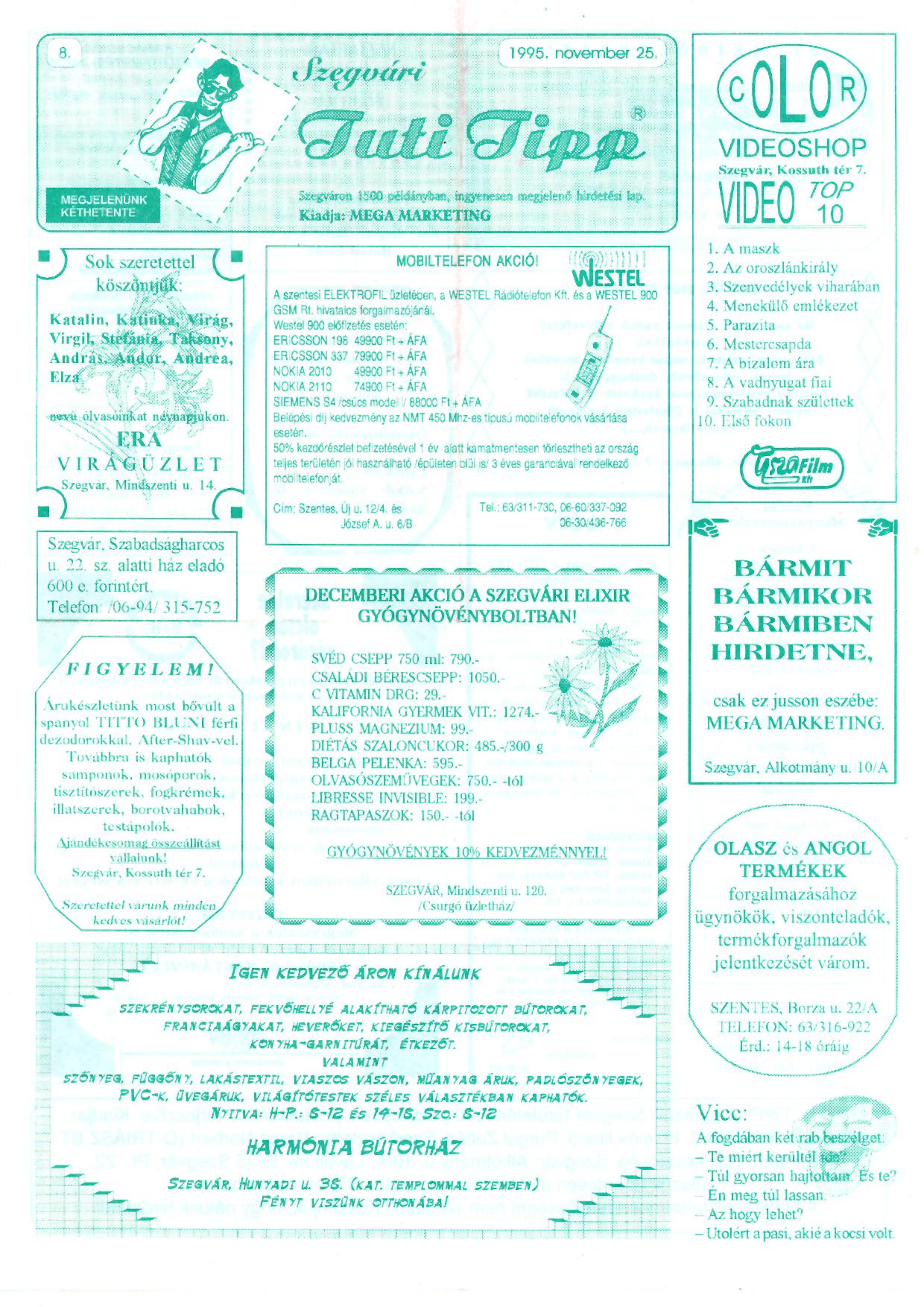 017 Szegvári Tuti Tipp reklámújság - 19951125-008. lapszám -1.oldal - I. évfolyam.jpg