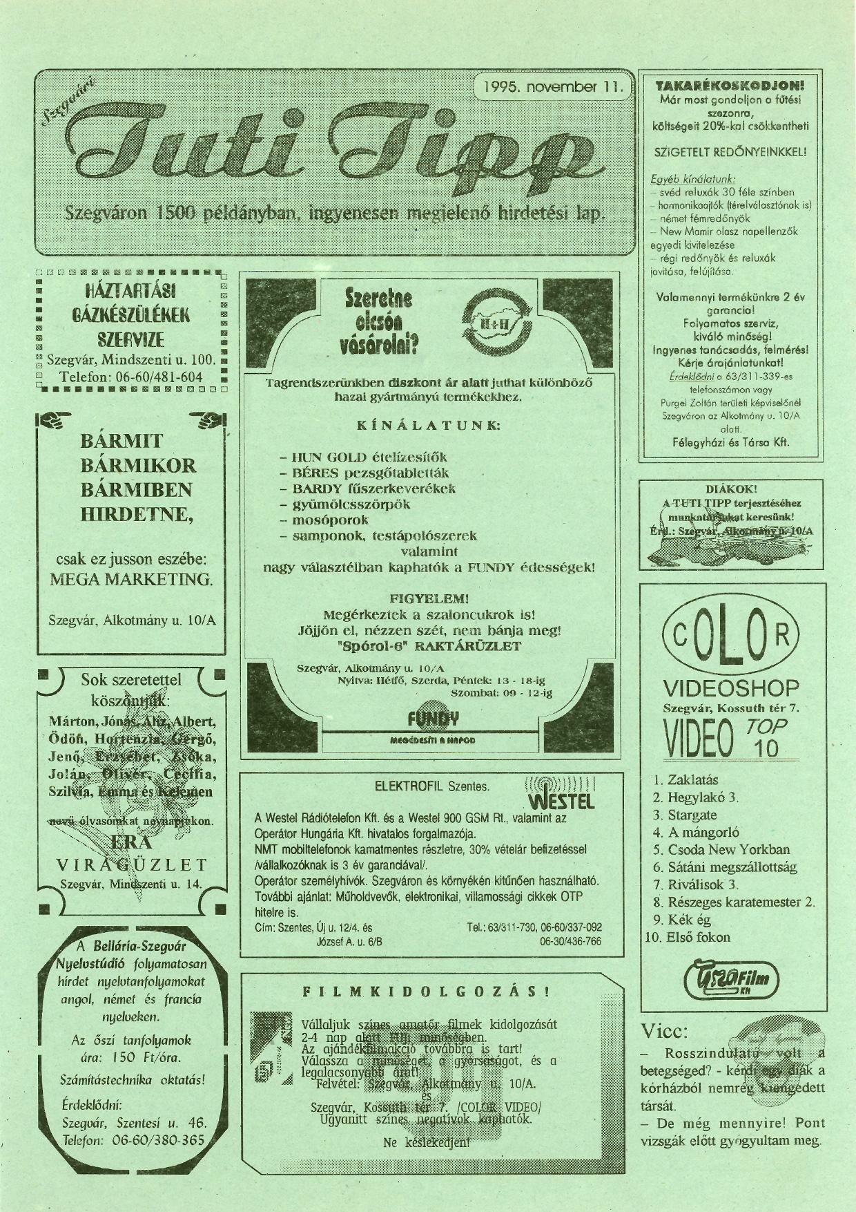 015 Tuti Tipp reklámújság - 19951111-007. lapszám -1.oldal - I. évfolyam.jpg