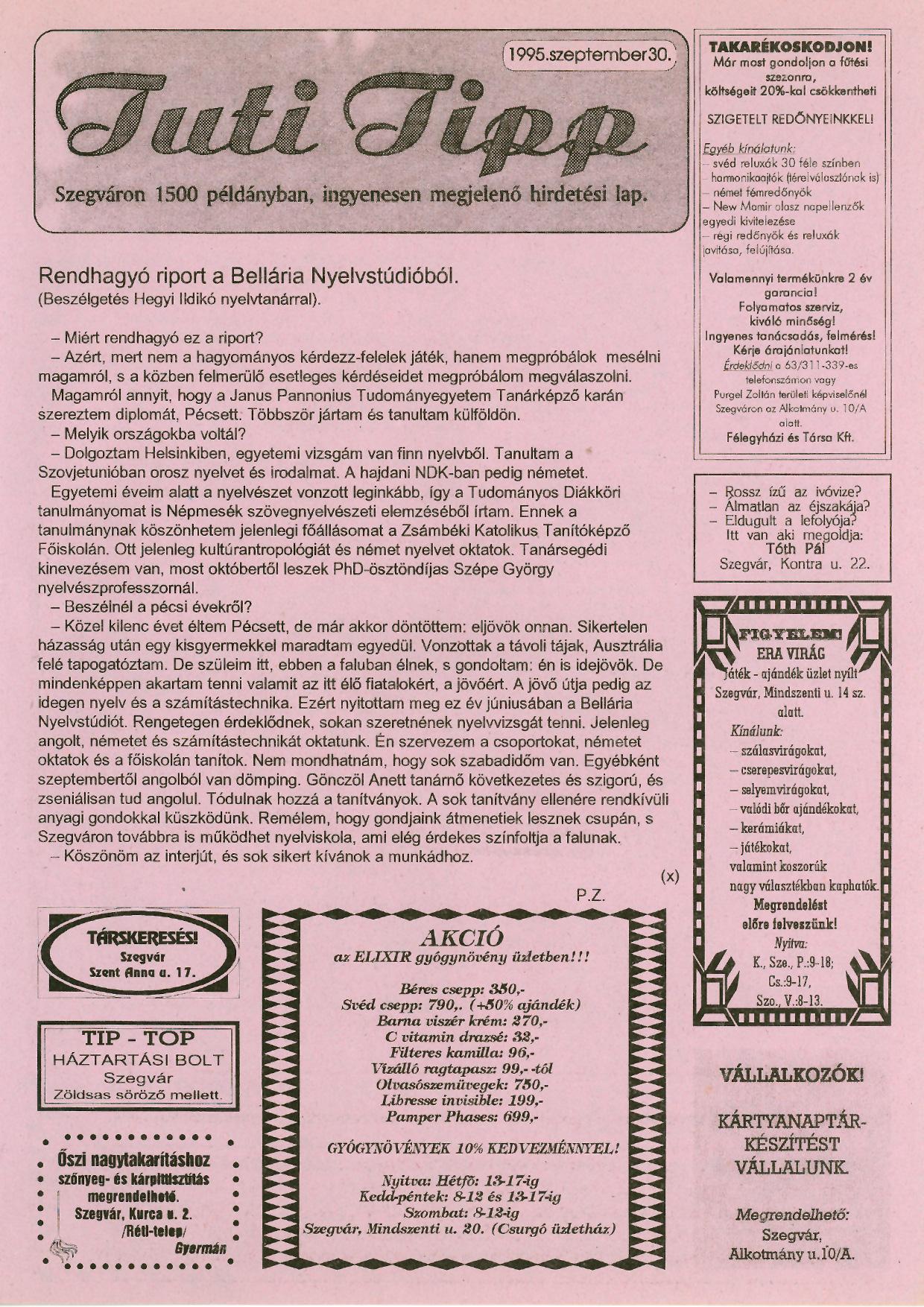 007 Tuti Tipp reklámújság - 19950930-004. lapszám -1.oldal - I. évfolyam.jpg