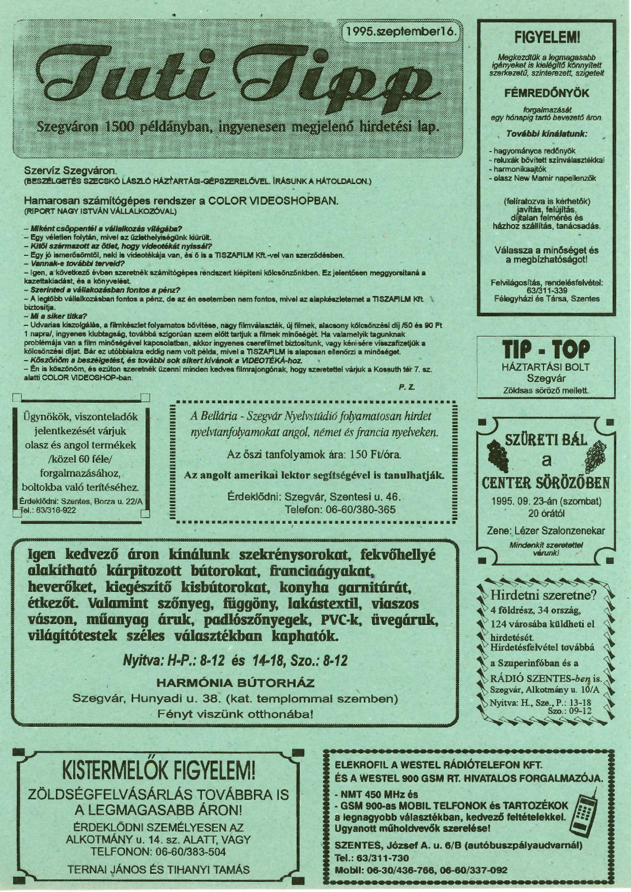005 Tuti Tipp reklámújság - 19950916-003. lapszám -1.oldal - I. évfolyam.jpg