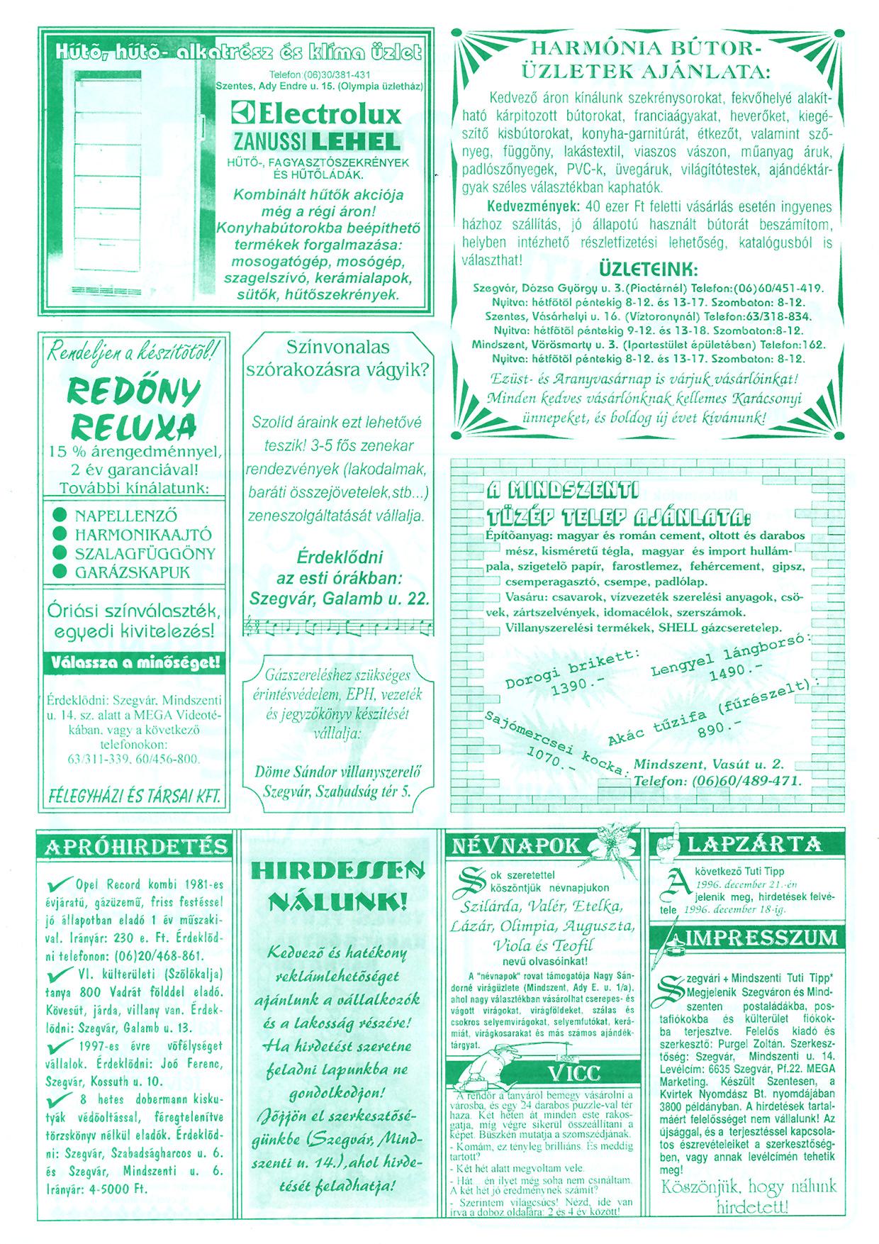 084 Szegvári és Mindszenti Tuti Tipp reklámújság - 19961214-037-014. lapszám - 2.oldal - II. évfolyam.jpg