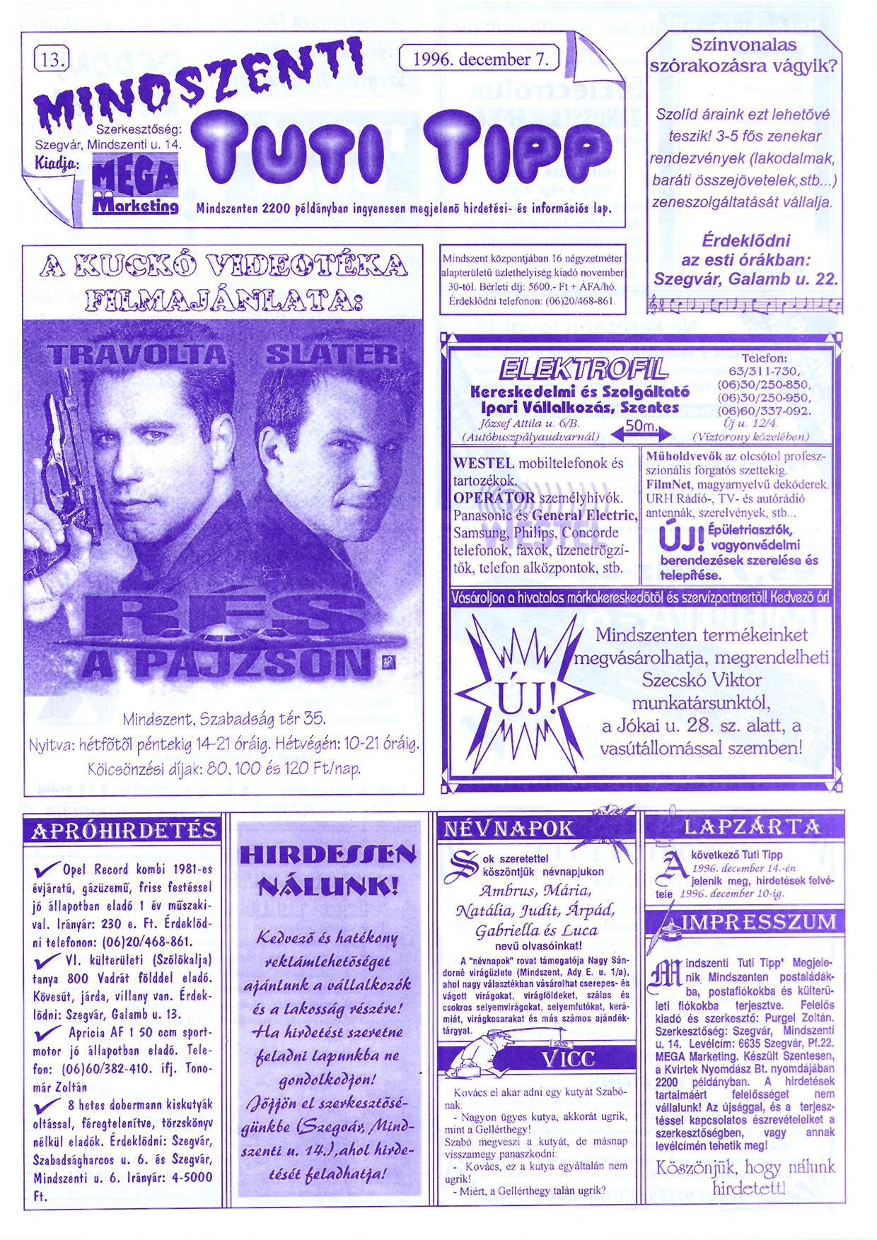 081 Mindszenti Tuti Tipp reklámújság - 19961207-013. lapszám - 1.oldal - II. évfolyam.jpg