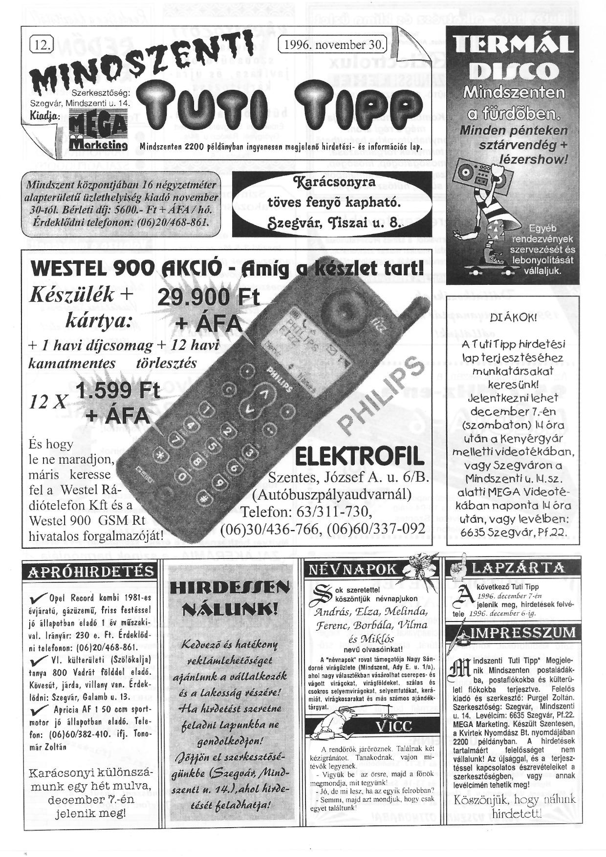 075 Mindszenti Tuti Tipp reklámújság - 19961130-012. lapszám - 1.oldal - II. évfolyam.jpg