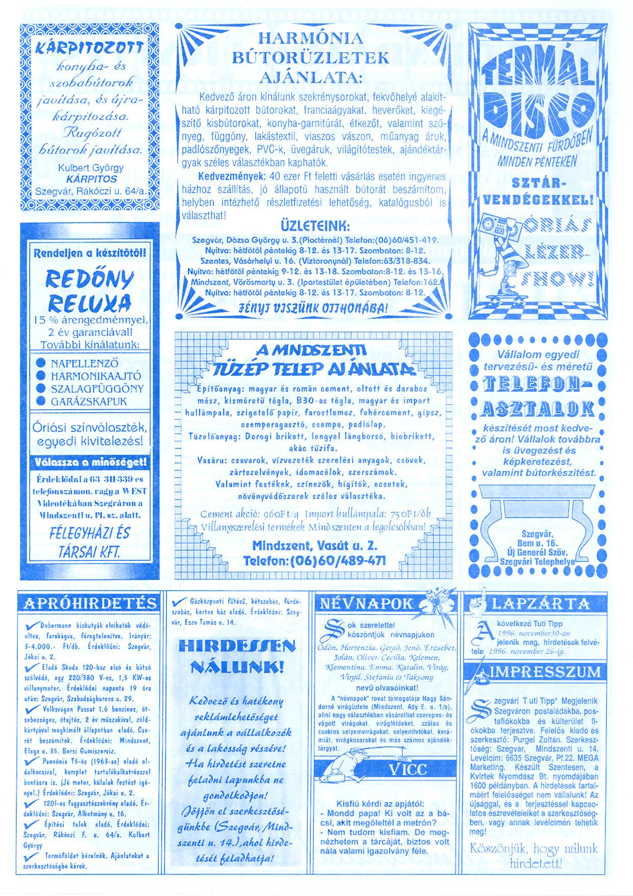 070 Szegvári Tuti Tipp reklámújság - 19961116-034. lapszám - 4.oldal - II. évfolyam.jpg