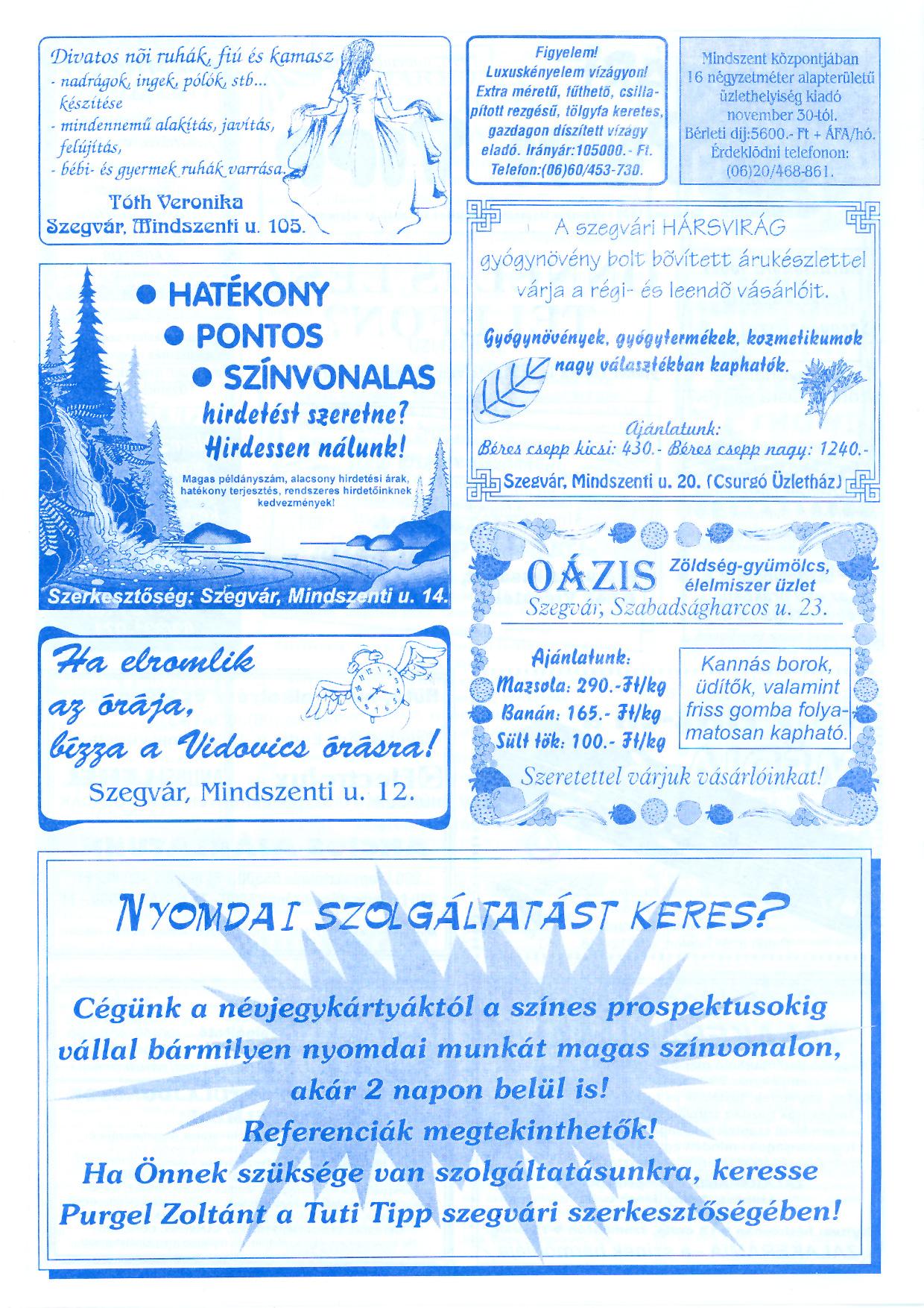 068 Szegvári Tuti Tipp reklámújság - 19961116-034. lapszám - 2.oldal - II. évfolyam.jpg