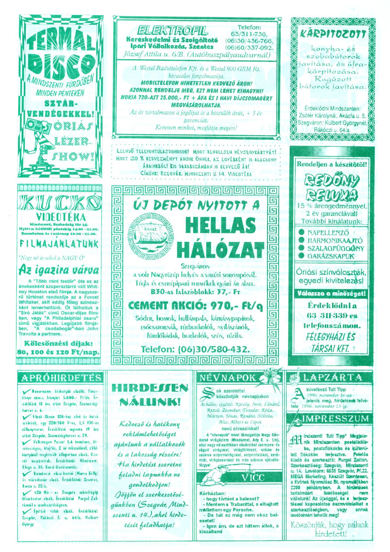 066 Mindszenti Tuti Tipp reklámújság - 19961102-010. lapszám - 2.oldal - II. évfolyam.jpg