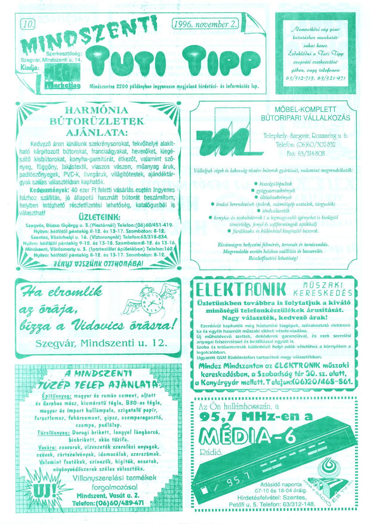 065 Mindszenti Tuti Tipp reklámújság - 19961102-010. lapszám - 1.oldal - II. évfolyam.jpg